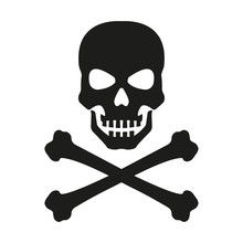 Skull With Crossed Bones Icon. Death, Pirate And Danger Symbol. Skeleton Head. Vector Illustration.