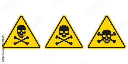 Photo  Hazard or warning sign set with skull and bones