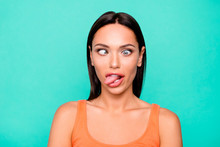 Close Up Photo Portrait Of Funny Funky Playing Fool Making Faces She Her Girl Sticking Tongue Out Watching In Different Ways Isolated Pastel Background