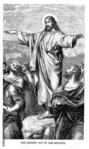 Vászonkép Christian illustration. Old image