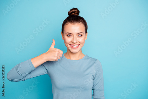 Fotografie, Obraz  Portrait of charming candid cute millennial feel glad advise adverts information