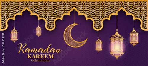 Fototapeta Ramadan Kareem or Eid mubarak greeting card islamic vector design  obraz