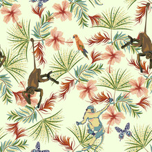 Tropical Seamless Pattern With Flowers, Monkey And Parrots. Vector Floral Patch For Print