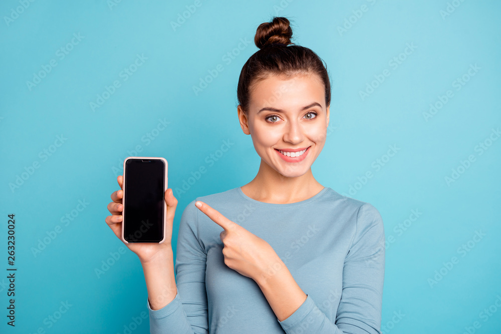 Fototapety, obrazy: Close-up portrait of her she nice-looking attractive sweet lovely cheerful teenage girl holding in hand new cool buying purchase ad advert isolated over bright vivid shine turquoise background