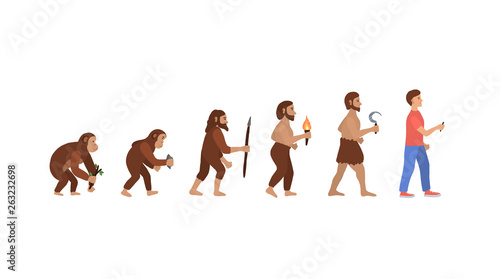 Fotografia set of vector characters showing Darwin's theory of evolution from monkey to modern man
