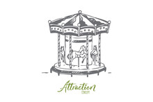 Attraction, Carousel, Fun, Entertainment, Park Concept. Hand Drawn Isolated Vector.