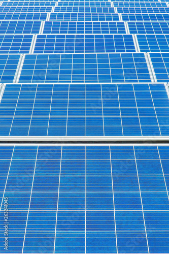 Symmetrical blue field with many  solar panels Wallpaper Mural