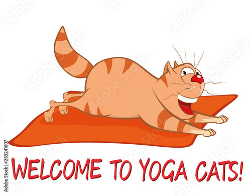 Fotobehang Babykamer Essential Yoga Poses for Cats. Vector Illustration of a Cute Cat. Cartoon Character