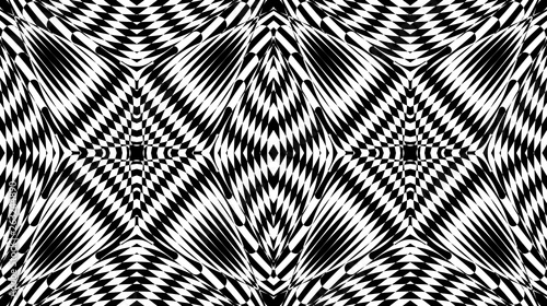 Seamless Pattern With Hypnotic Trance Texture Black And White