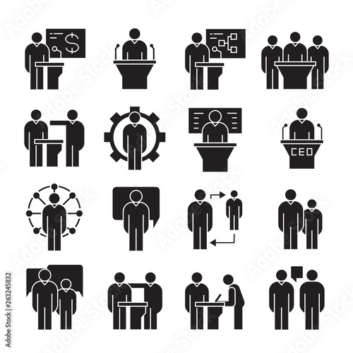 Photo business management, meeting, conference, organization and office icons set