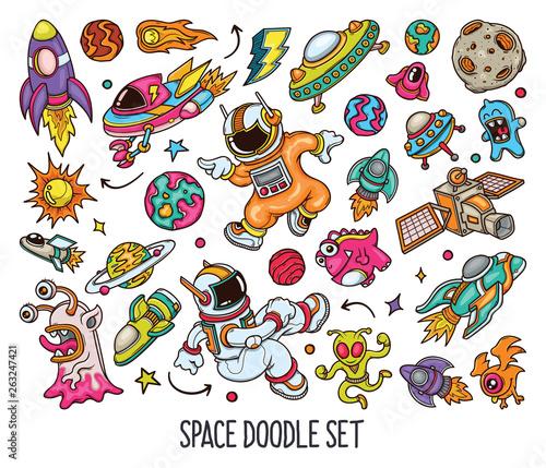 Fotografija Hand drawn set of Space doodles in Color vector