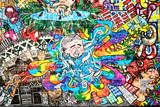 Fototapeta Młodzieżowe - Cool music graffiti in urban style on the wall