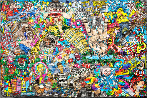 Cool music graffiti in urban style on the wall Canvas Print