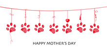 Happy Mother's Day Card With Border Design Hanging Red Paw Prints