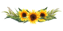 Watercolor Floral Wreath With Sunflowers,leaves, Foliage, Branches, Fern Leaves And Place For Your Text.