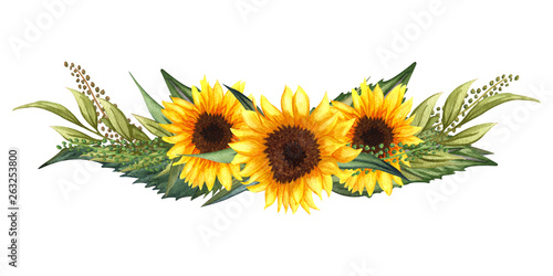 Foto Watercolor floral wreath with sunflowers,leaves, foliage, branches, fern leaves and place for your text