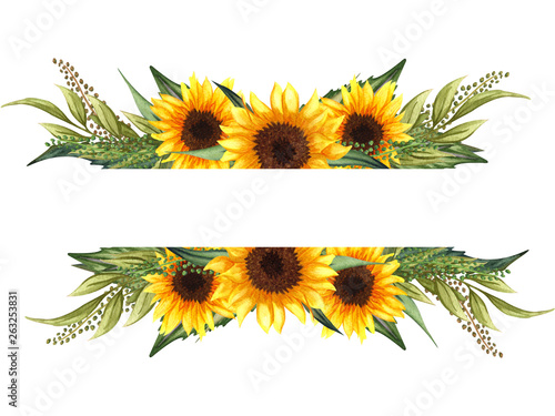 Spoed Foto op Canvas Zonnebloem Watercolor floral wreath with sunflowers,leaves, foliage, branches, fern leaves and place for your text.