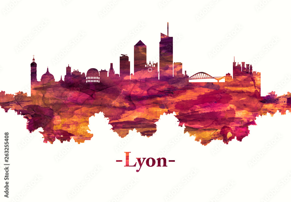 Lyon France skyline in red