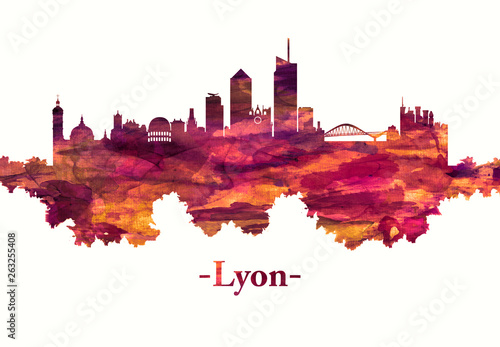 Foto auf Gartenposter Weiß Lyon France skyline in red