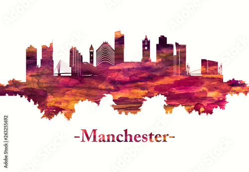 Manchester city England skyline in red Canvas Print