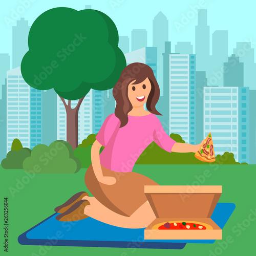 Woman Eating Pizza on Picnic Vector Illustration Wallpaper Mural