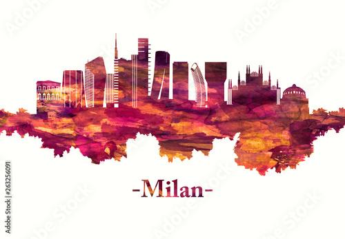 Obraz na plátně  Milan Italy skyline in red