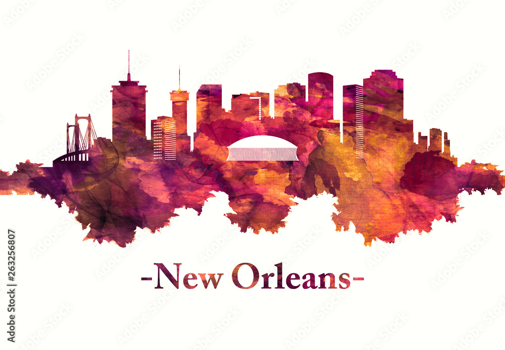 New Orleans Louisiana skyline in red