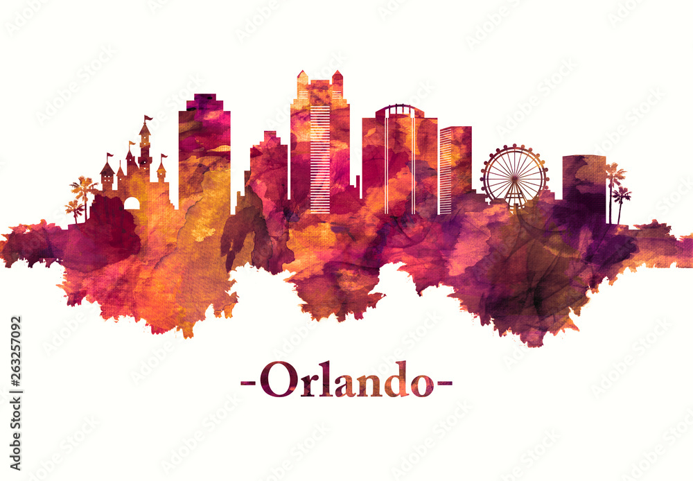 Orlando Florida skyline in red