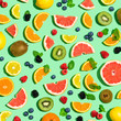 canvas print picture - Collection of mixed fruits overhead view flat lay