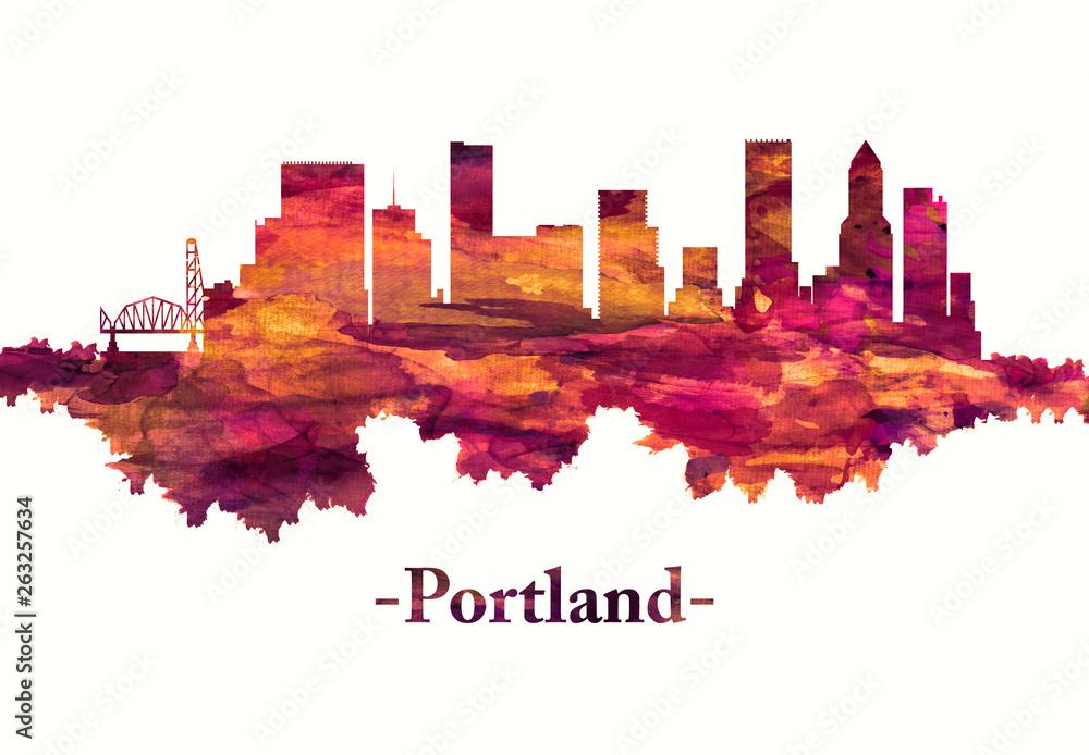 Portland Oregon skyline in red