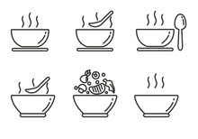 Set Of Soup Icon With Outline Design. Soup Vector Illustration