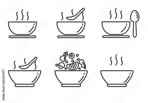 Obraz na plátně Set of soup icon with outline design. Soup vector illustration
