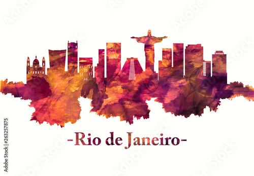 Photo  Rio de Janeiro Brazil skyline in red