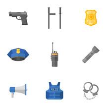 Set Of Police Equipment, Weapo...