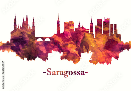 Saragossa Spain skyline in red