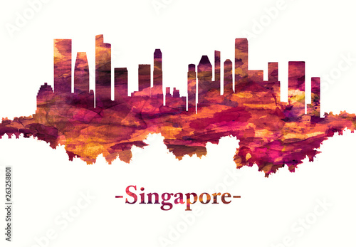 Photo  Singapore skyline in red