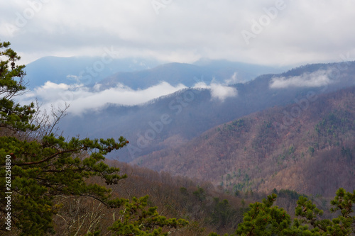 Fog and mountains along the Blue Ridge Parkway near Waynesboro in west-central Virginia