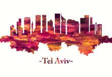 Tel Aviv Israel Skyline In Red