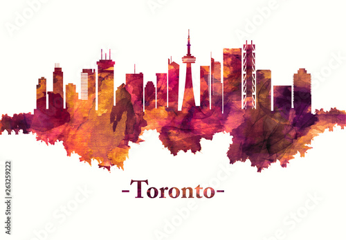 Photo  Toronto Canada skyline in red