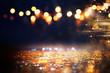 canvas print picture - glitter vintage lights background. black and gold. de-focused