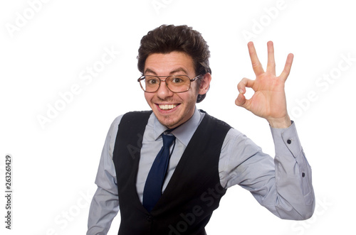 Photo Young businessman in funny concept on white