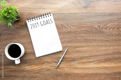 Photo  Notebook with 2019 plan text on it