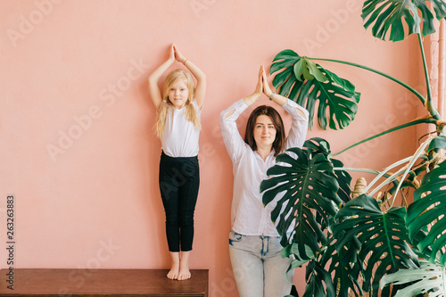 Life style female family portrait of happy mother and smiling