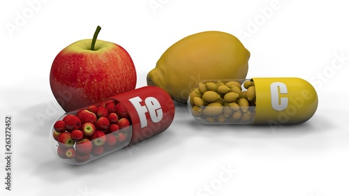 3D illustration of two capsules, tablets with iron trace element Fe and vitamin C, ascorbic acid isolated on a white background Canvas Print