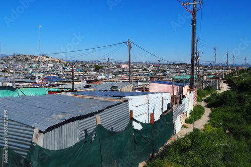 Khayelitsha township, South Africa - 29 August 2018 : BAckyard in a township in Canvas Print