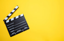 Movie Clapperboard On Yellow C...