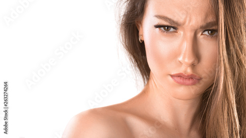 Close up portrait of a woman with an angry face Tablou Canvas