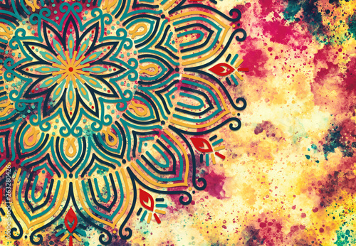 Valokuvatapetti Abstract mandala graphic design and watercolor digital art painting for ancient