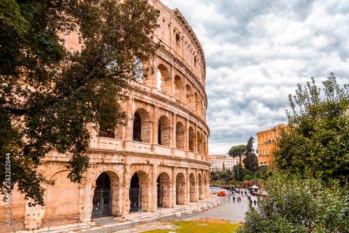 Fotografia, Obraz  Exterior view of the ancient Roman Colloseum in Rome