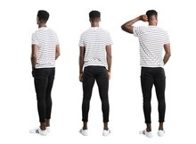 Set Of Dark Skinned Man With Striped Shirt Looking Back